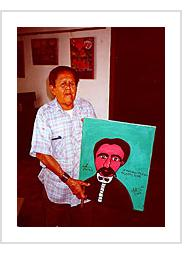 Abel Perez Mainegra with painting of José Marti. Trinidad, March, 2000.