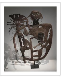 """An early sculpture by Bien-Aimé in the exhibition """"Picasso Primitif"""" at Museé du Quai Branly -Jacques Chirac, Paris."""