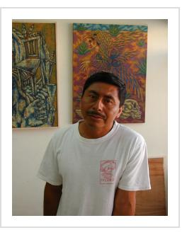 Eddie Martinez in his studio - Oaxaca, 2006 (Photograph © Anthony Hart Fisher)