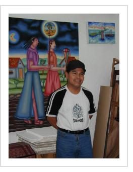 Felipe Morales in his studio - Oaxaca, 2006 (Photograph © Anthony Hart Fisher)