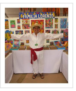 Fernando Lorenzo with family's work in Santa Fe, 2019 (Photograph © Anthony Hart Fisher 2019).