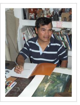 Felipe Morales in his studio - Oaxaca, 2010 (Photograph © Anthony Hart Fisher)