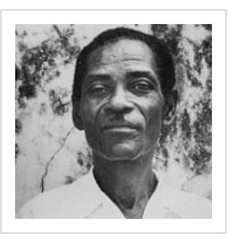 Montas Antoine. (photograph reproduced from Haitian Art: The Legend and Legacy of the Naive Tradition by L.G. Hoffman, Davenport Art Gallery, 1985)