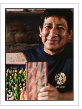"Mabilon Jimenez Quispe, as profiled in HAND/EYE Magazine (#08), in the article ""Small Worlds"", by Colvin English, Summer 2012. Photograph by Musuk Nolte."