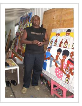 Painter Michael Soi in his studio in the Kuona Trust Art Centre. February 2011. (Photograph © Anthony Hart Fisher)