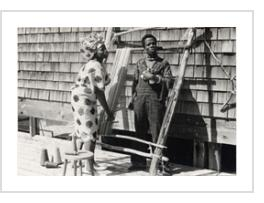 Nike Olenike and Twins Seven-Seven at Haystack Mountain Crafts Center, Deer Isle, Maine, 1974 (courtesy of Archives of American Art, Smithsonian Institution).