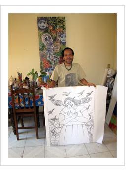 Fernando Olivera in his studio - Oaxaca, 2010 (Photograph © Anthony Hart Fisher)
