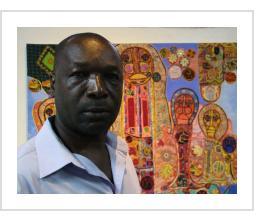 """Onel at exhibit, """"Les Rayons de Soleil"""", at Institut Francais en Haiti, 2015"""