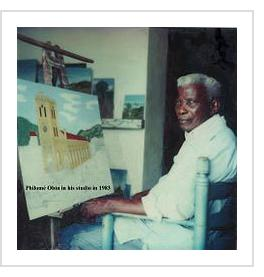 Philomé Obin within his studio in 1983 (photo from Wikipedia).