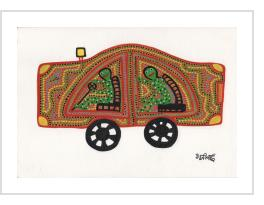 Two Green People in a Yellow Car