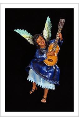 Angel with Guitar - retablo figure
