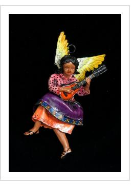 Angel with Accordion - retablo figure