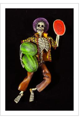 """Sandias del Muerte"" (Watermelons of Death) - retablo figure"