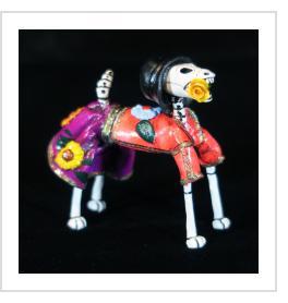 Calavera Dog with Flowers - Retablo Figure