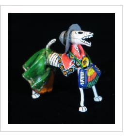 Calavera Dog Accordionist - Retablo Figure