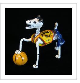 Calavera Basketball Dog - Retablo Figure