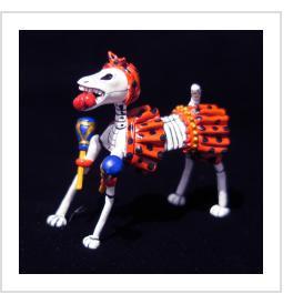 Calavera Dog with Maracas - Retablo Figure