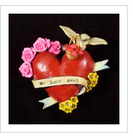 """Mi Dulce Amor"" (My Sweet Love) Retablo Heart Ornament"
