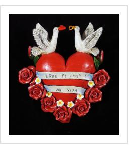 """Eres El Amor de Mi Vida"" (you are the love of my life) Retablo heart ornament"