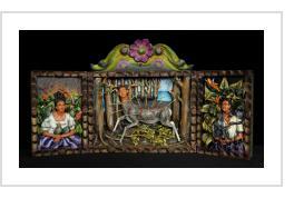 """Frida Kahlo retablo - Parrots, Monkeys & """"Wounded Deer"""""""