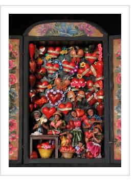 Taller de Corazones (Valentine Workshop) Retablo (version 6)