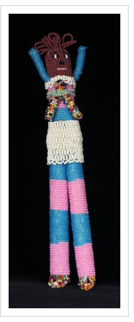 """Beaded """"Tall Doll"""" with Baby"""