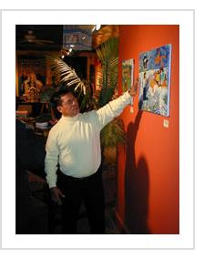"Ignacio Fletes Cruz discusses his painting ""Jesus Calms the Storm"" at indigo arts Gallery. February 3rd, 2007."