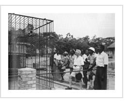 Pierre Romain-Desfossés with his students at the Elisabethville zoo - Congo, 1950.