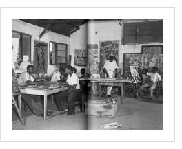 "Pierre Romain-Desfossés with his students in ""le Hangar"" workshop - Elisabethville, Congo, 1950."