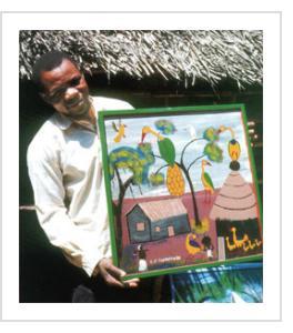 Edward Saidi Tingatinga in about 1970, Dar-es-Salaam, Tanzania. ((Photograph © by Jesper Kirknaes, published in Tinga Tinga: the Popular Paintings of Tanzania by Yves Goscinny)