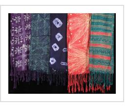 Batik and tie-dye rayon scarves