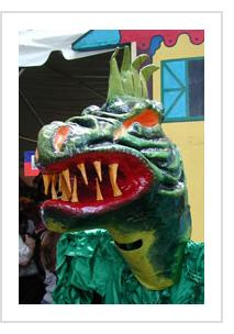 Papier Maché monster mask. ( Photograph © Anthony Hart Fisher 2004).