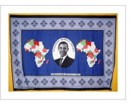 "Hongera Barack Obama khanga cloth from Tanzania on display at the Smithsonian National Museum of African Art. Swahili translates ""Congratulations Barack Obama"". Phrase below is ""Upendo na Amani Tujalia Mungu"" (""God Has Blessed Us With Peace And Love"" )."
