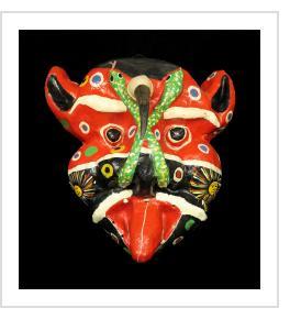 "One-horned ""Djab"" carnival mask"