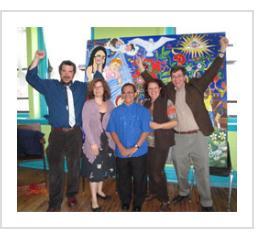 "Andrew, Beth, Ignacio, Trish and Tony celebrate the unveiling of ""Amor"", April 14, 2011."