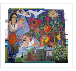 """Amor"", the completed mural after its unveiling at Centro de Estudiantes. April 14, 2011."
