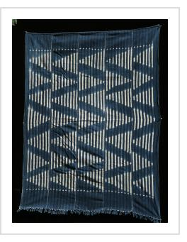 Indigo stitch-resist-dyed strip-weave cotton cloth