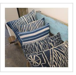 Vintage Indigo Strip-weave Pillows