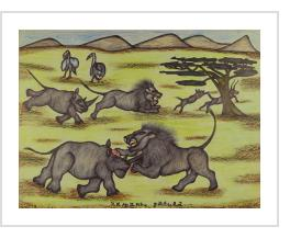 Lions and Rhinos at Battle - Kamante Gatura (Kenya)