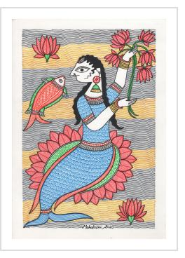 Mermaid Holding Lotus Flowers