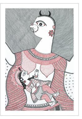 Baby Krishna Suckling at the Breast of the Demon Putana - Shalini Karn (India)