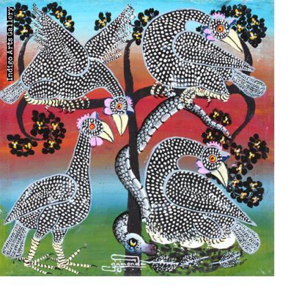 Snake amid the Guinea Fowl
