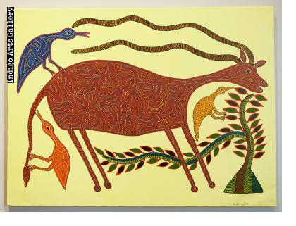 Anil Bariya - Antelope with Three Birds