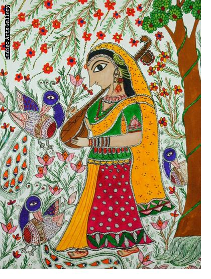 Girl in the Garden - Mithila painting