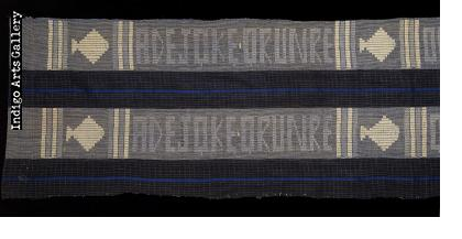 Indigo Ashoké (aso oke) Cloth with Text