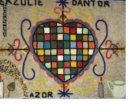 Erzulie Dantor Beaded Vodou Flag