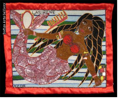 """""""La Sirene"""" Beaded Drapo Vodou (vodou flag)"""
