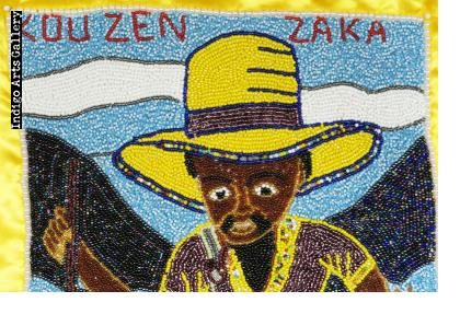 """Couzen Zaka"" Beaded Vodou Flag"