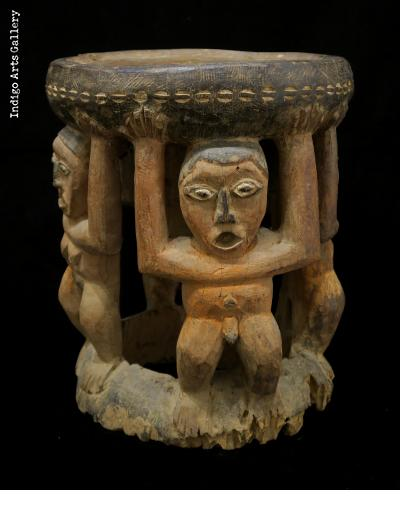 """Caryatid"" - Bamum figurative wood stool."