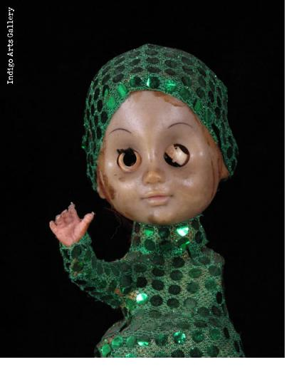 Vodou Sculpture/Bottle in Green - for Grand Bois